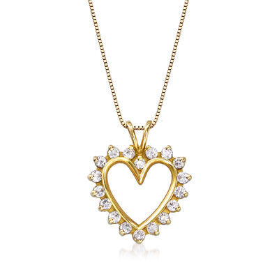 C. 1990 Vintage 1.00 ct. t.w. Diamond Heart Pendant Necklace in 14kt Yellow Gold , , default