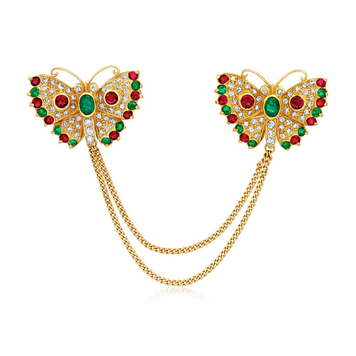 C. 1990 Vintage .90 ct. t.w. Ruby, .80 ct. t.w. Emerald and .85 ct. t.w. Diamond Double-Butterfly Pin in 18kt Yellow Gold