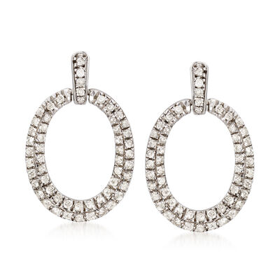 .50 ct. t.w. Diamond Oval Drop Earrings in Sterling Silver