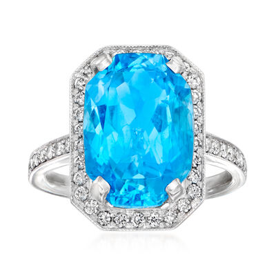 C. 2000 Vintage 7.70 Carat Swiss Blue Topaz and .55 ct. t.w. Diamond Ring in 18kt White Gold