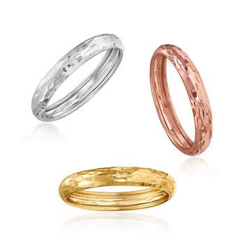 Italian 14kt Tri-Colored Gold Jewelry Set: Three Diamond-Cut Rings