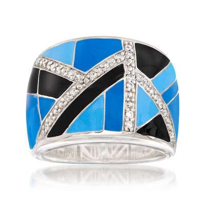 "Belle Etoile ""Delano"" Blue and Black Enamel and .23 ct. t.w. CZ Ring in Sterling Silver, , default"
