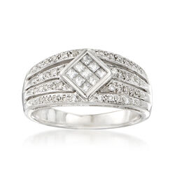 C. 1980 Vintage .65 ct. t.w. Round and Baguette Diamond Band Ring in 14kt White Gold, , default