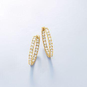 """1.75 ct. t.w. CZ Inside-Outside Hoop Earrings in 14kt Yellow Gold. 7/8"""", , default"""
