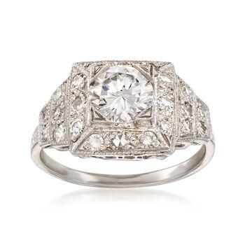 C. 2000 Vintage 1.54 ct. t.w. Certified Diamond Ring in Platinum. Size 6, , default