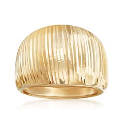 Italian 14kt Yellow Gold Wide Diamond-Cut Dome Ring, , default