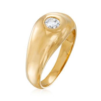 C. 1980 Vintage .35 Carat Diamond Ring in 14kt Yellow Gold. Size 8