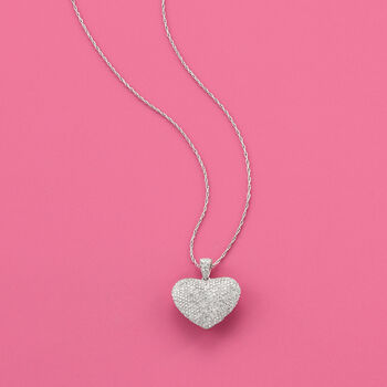 "1.00 ct. t.w. Diamond Heart Pendant Necklace in Sterling Silver. 18"", , default"