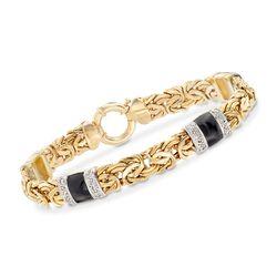 .24 ct. t.w. Diamond and Black Enamel Byzantine Station Bracelet in 14kt Yellow Gold, , default