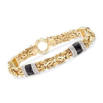 .24 ct. t.w. Diamond and Black Enamel Byzantine Station Bracelet in 14kt Yellow Gold, , default