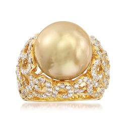 13-14mm Golden South Sea Pearl and 2.00 ct. t.w. Diamond Ring in 18kt Yellow Gold, , default