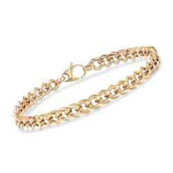 "18kt Yellow Gold Curb-Link Bracelet. 8"", , default"