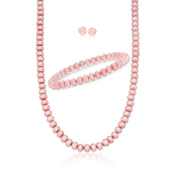 "6-7mm Rose Cultured Pearl Jewelry Set: Bracelet, Earrings, and Necklace With Sterling Silver. 18"", , default"