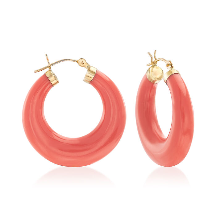 "Coral Hoop Earrings in 14kt Yellow Gold. 1 1/8"", , default"