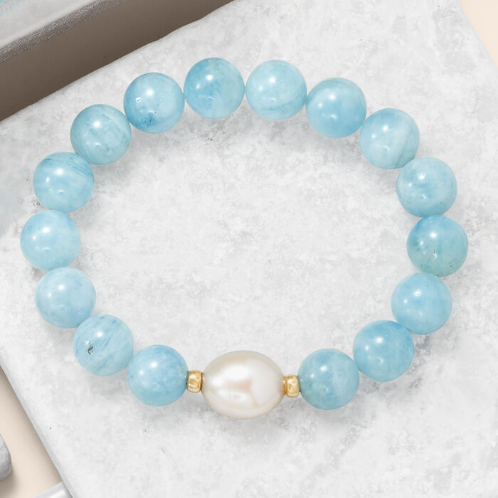 12-13mm Cultured Baroque Pearl and Milky Aquamarine Stretch Bracelet with 14kt Yellow Gold