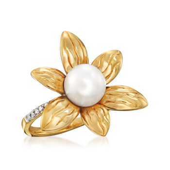 Cultured Pearl and .10 ct. t.w. Diamond Flower Ring in 18kt Gold Over Sterling