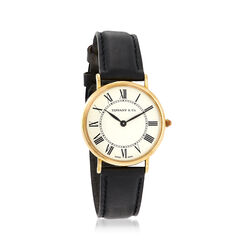 C. 1980 Vintage Tiffany Jewelry Men's 30mm 18kt Yellow Gold Watch With Black Leather, , default