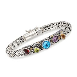 "3.00 ct. t.w. Multi-Stone Balinese Bracelet in Sterling Silver and 18kt Gold. 7.5"", , default"