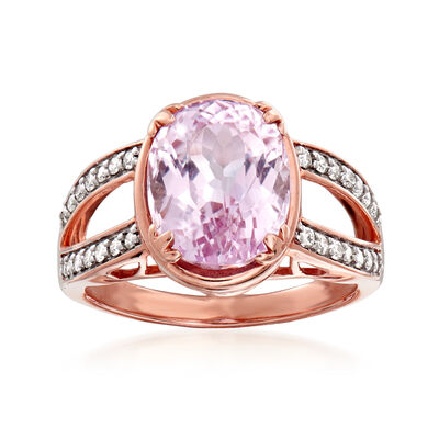 3.80 Carat Kunzite and .22 ct. t.w. Diamond Ring in 14kt Rose Gold, , default