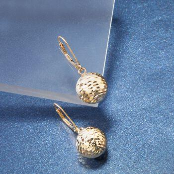 Italian 12mm 18kt Yellow Gold Diamond-Cut Bead Drop Earrings, , default
