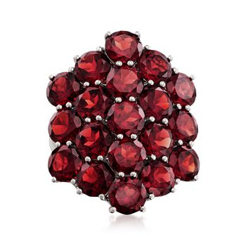 19.00 ct. t.w. Garnet Cluster Ring in Sterling Silver, , default