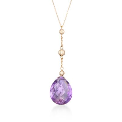 8.00 Carat Amethyst and Bead Drop Necklace in 14kt Yellow Gold, , default