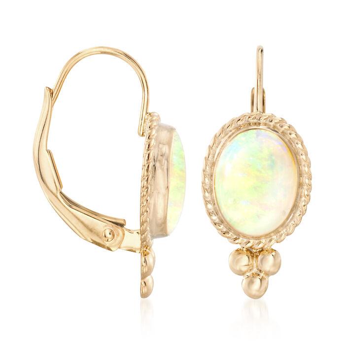Opal Rope Edge Earrings in 14kt Yellow Gold