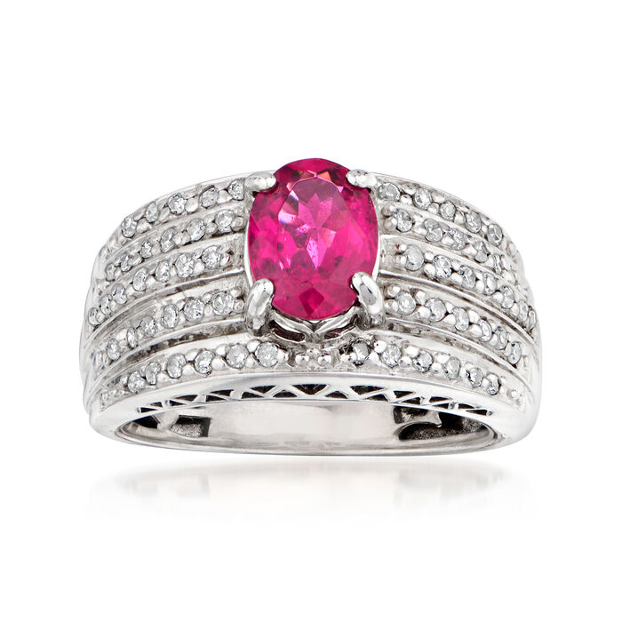 C. 1990 Vintage 1.15 Carat Pink Tourmaline and .50 ct. t.w. Diamond Ring in 14kt White Gold. Size 6