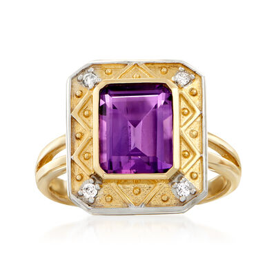 2.20 Carat Amethyst Ring with Diamond Accents in 14kt Yellow Gold, , default