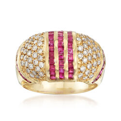 C. 1990 Vintage 2.00 ct. t.w. Ruby and .80 ct. t.w. Diamond Dome Ring in 18kt Yellow Gold, , default