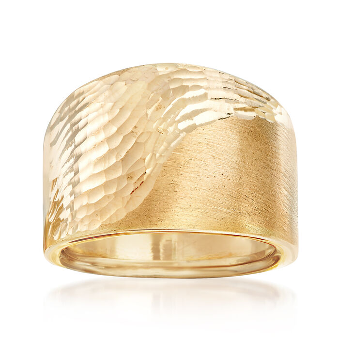 Italian 14kt Yellow Gold Diamond-Cut and Polished Ring. Size 7, , default