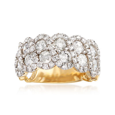 3.00 ct. t.w. Diamond Scalloped Ring in 14kt Yellow Gold, , default