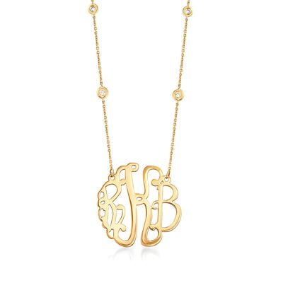 14kt Yellow Gold Medium Monogram Necklace with .20 ct. t.w. Diamonds, , default