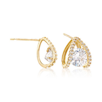 1.80 ct. t.w. CZ Double Loop Earrings in 14kt Yellow Gold, , default