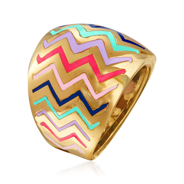 Italian Multicolored Enamel Zigzag Ring in 14kt Yellow Gold