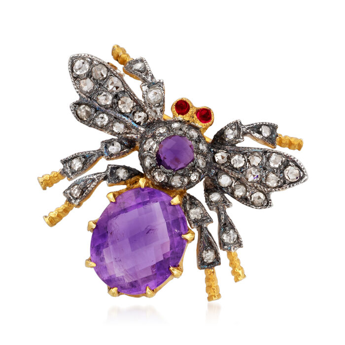 C. 1980 Vintage 2.25 ct t.w. Amethyst and .50 ct. t.w. Diamond Bee Pin in Sterling Silver and 14kt Gold Over Sterling