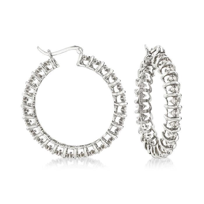"""1.00 ct. t.w. Diamond Spiral Hoop Earrings in Sterling Silver. 1 3/8"""""""