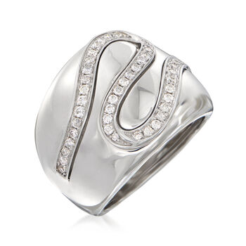 .56 ct. t.w. Diamond Ribbon Ring in 14kt White Gold. Size 7