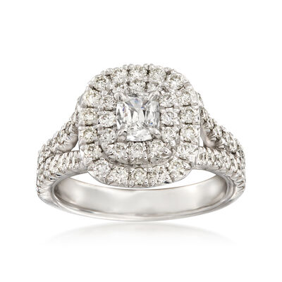 Henri Daussi 1.22 ct. t.w. Diamond Double Halo Engagement Ring in 18kt White Gold