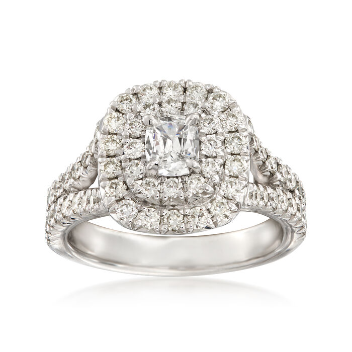Henri Daussi 1.22 ct. t.w. Diamond Double Halo Engagement Ring in 18kt White Gold, , default