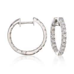"1.00 ct. t.w. Diamond Inside-Outside Hoop Earrings in 14kt White Gold. 3/4"", , default"