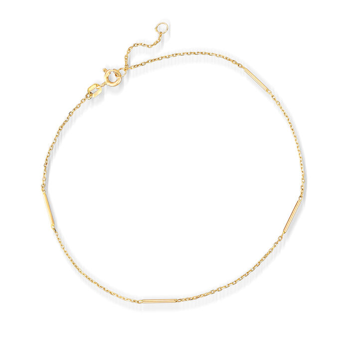 """Italian 14kt Yellow Gold Station Bar Anklet. 9"""""""