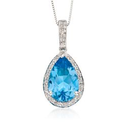 "3.00 Carat Blue Topaz and .10 ct. t.w. Diamond Pendant Necklace in 14kt White Gold. 18"", , default"
