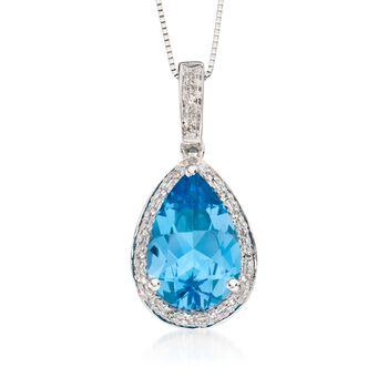 """3.00 Carat Blue Topaz and .10 ct. t.w. Diamond Pendant Necklace in 14kt White Gold. 18"""", , default"""
