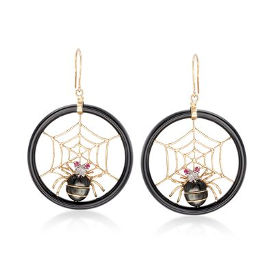 Multi-Stone Spiderweb Drop Earrings in 14kt Yellow Gold, , default