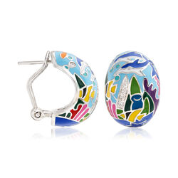 "Belle Etoile ""Dolphin"" Blue and Multicolored Enamel and .15 ct. t.w. CZ Hoop Earrings in Sterling Silver, , default"