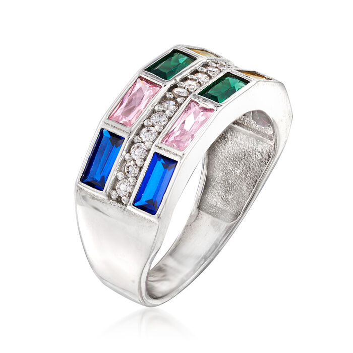 2.55 ct. t.w. Multicolored CZ Ring in Sterling Silver