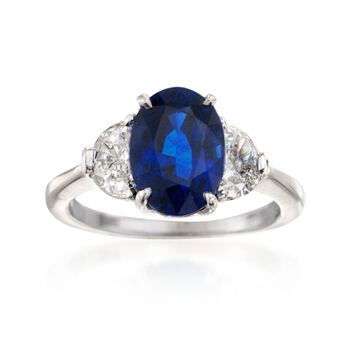 C. 1990 Vintage 4.26 Carat Sapphire and .90 ct. t.w. Diamond Ring in Platinum. Size 6, , default