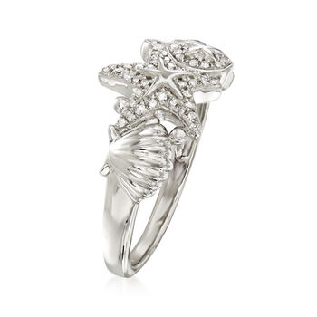 .15 ct. t.w. Diamond Sea Life Ring in Sterling Silver
