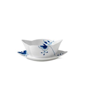 """Royal Copenhagen """"Blue Fluted Mega"""" Porcelain Gravy Boat with Stand, , default"""